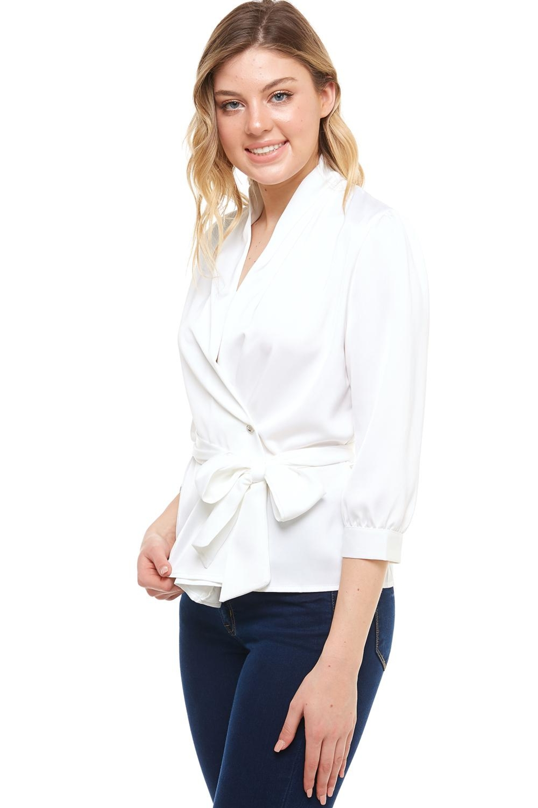 Venti 6 Wrap Tie Blouse - Front Full Image