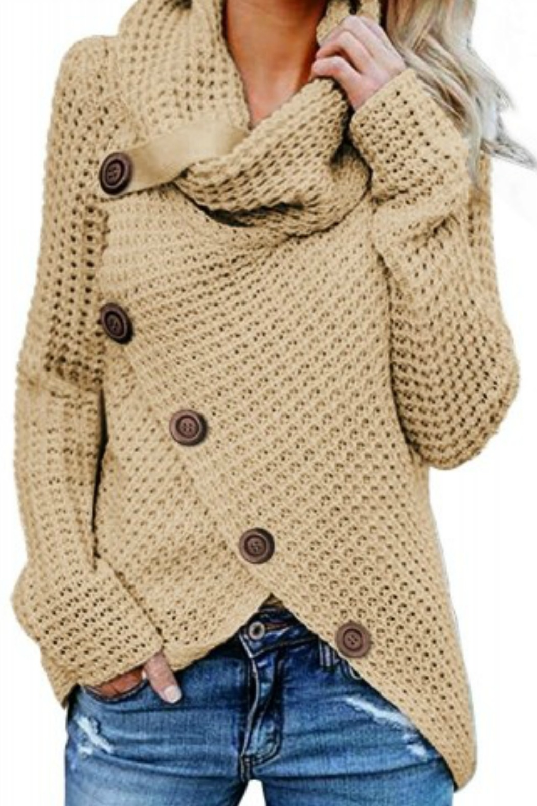 Tracie's Wrap Turtleneck Knit Wrap Sweater - Front Cropped Image