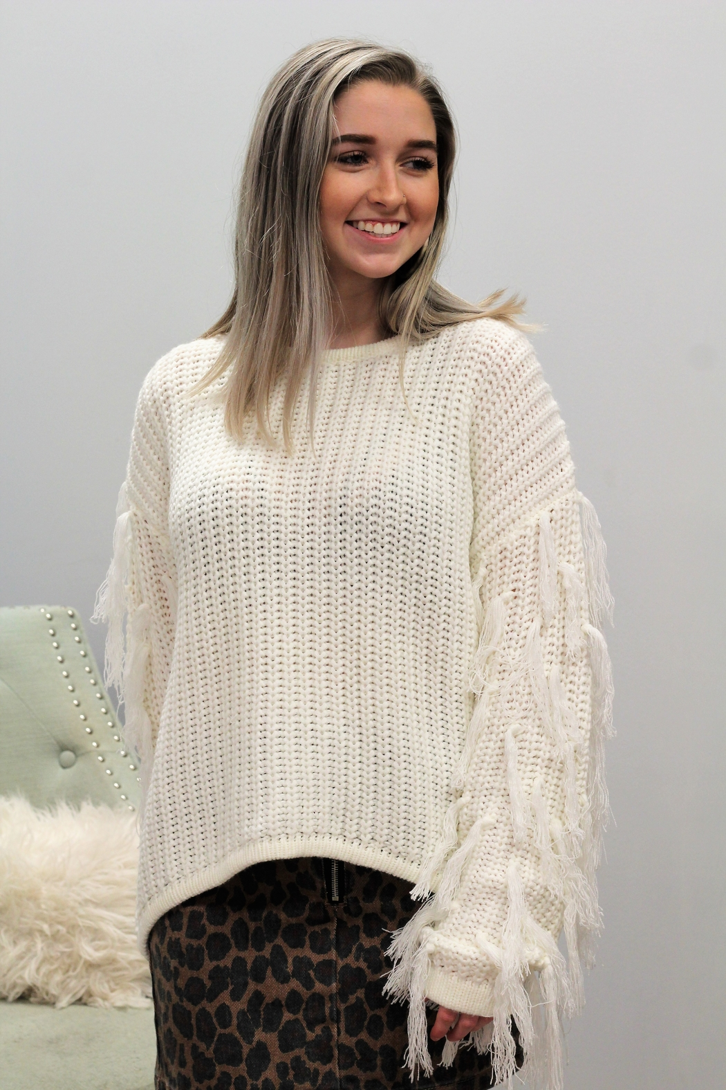 Hayden Wrapped In Tassels Sweater - Front Full Image