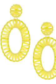 Bluebell Wrapped Oval Drop Hoops - Front cropped