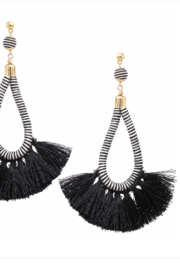 US Jewelry House Wrapped Tassel Fringe Earrings - Product Mini Image