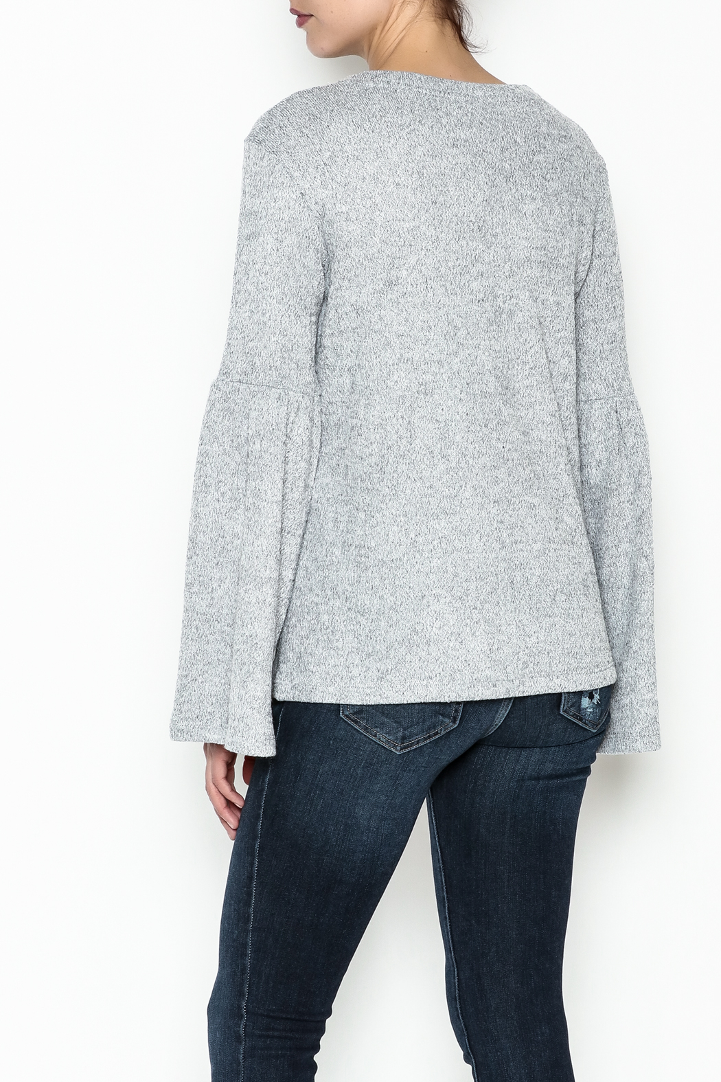 WREN & WILLA Bell Sleeve Sweater - Back Cropped Image