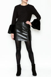 WREN & WILLA Button Faux Leather Skirt - Side cropped