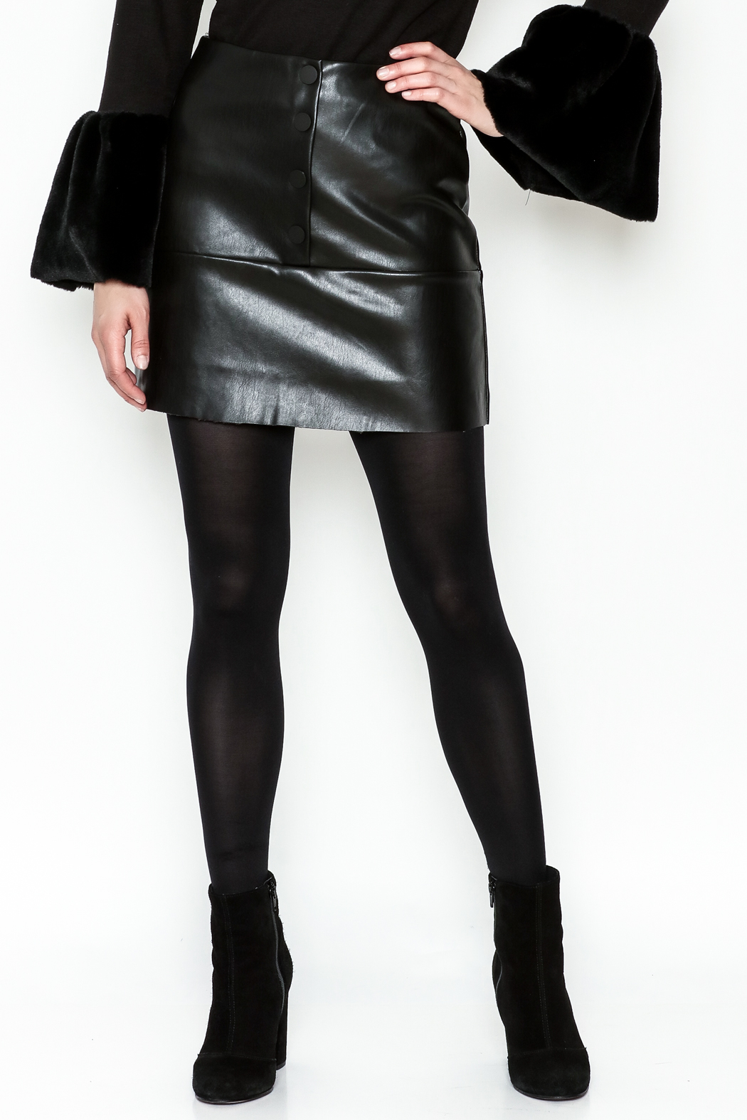 WREN & WILLA Button Faux Leather Skirt - Main Image
