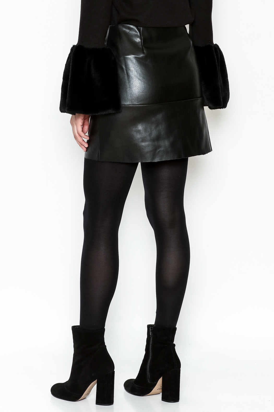 WREN & WILLA Button Faux Leather Skirt - Back Cropped Image