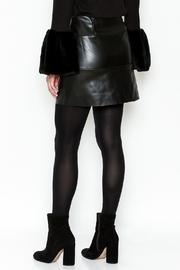 WREN & WILLA Button Faux Leather Skirt - Back cropped