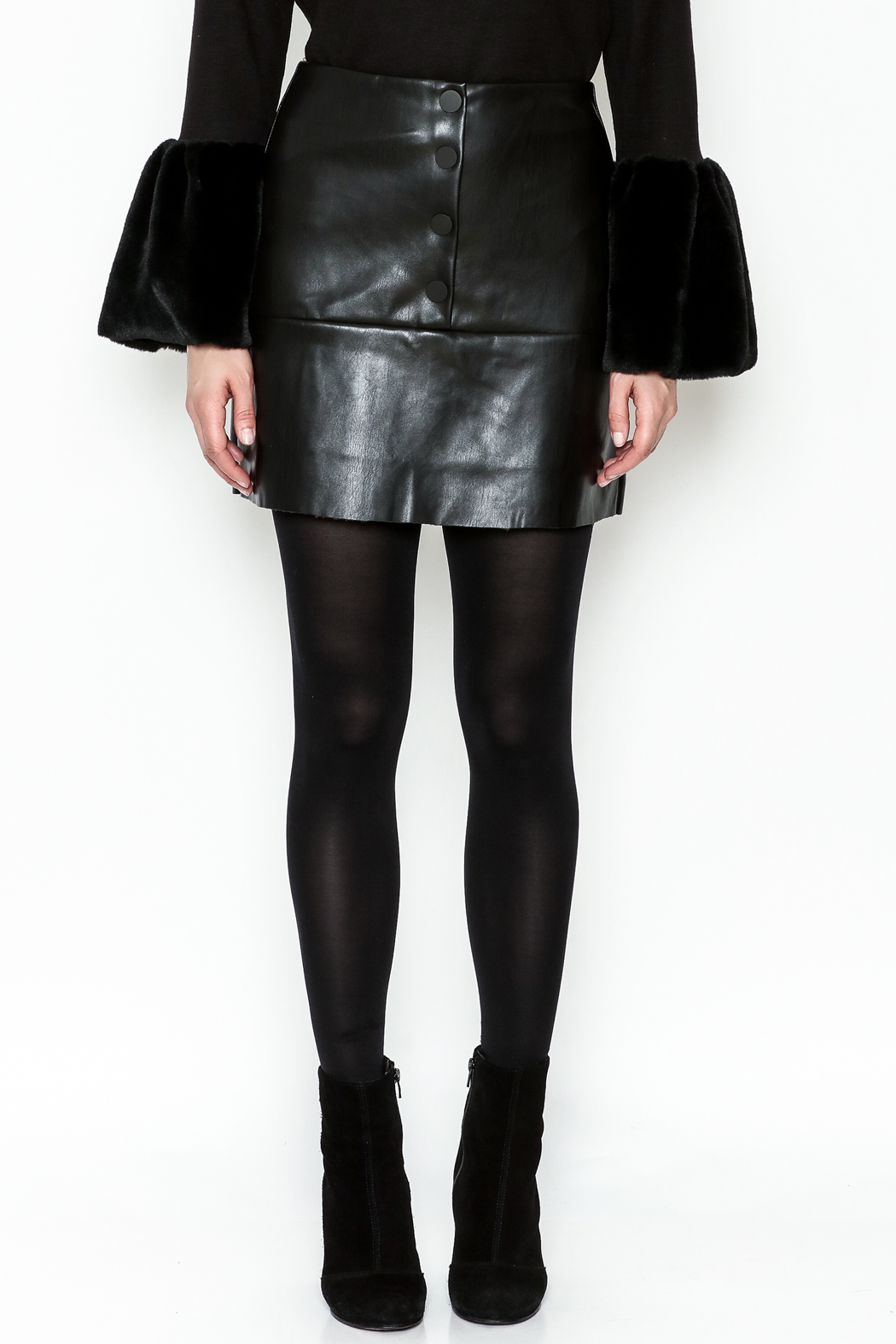 WREN & WILLA Button Faux Leather Skirt - Front Full Image