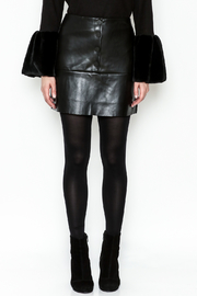 WREN & WILLA Button Faux Leather Skirt - Front full body