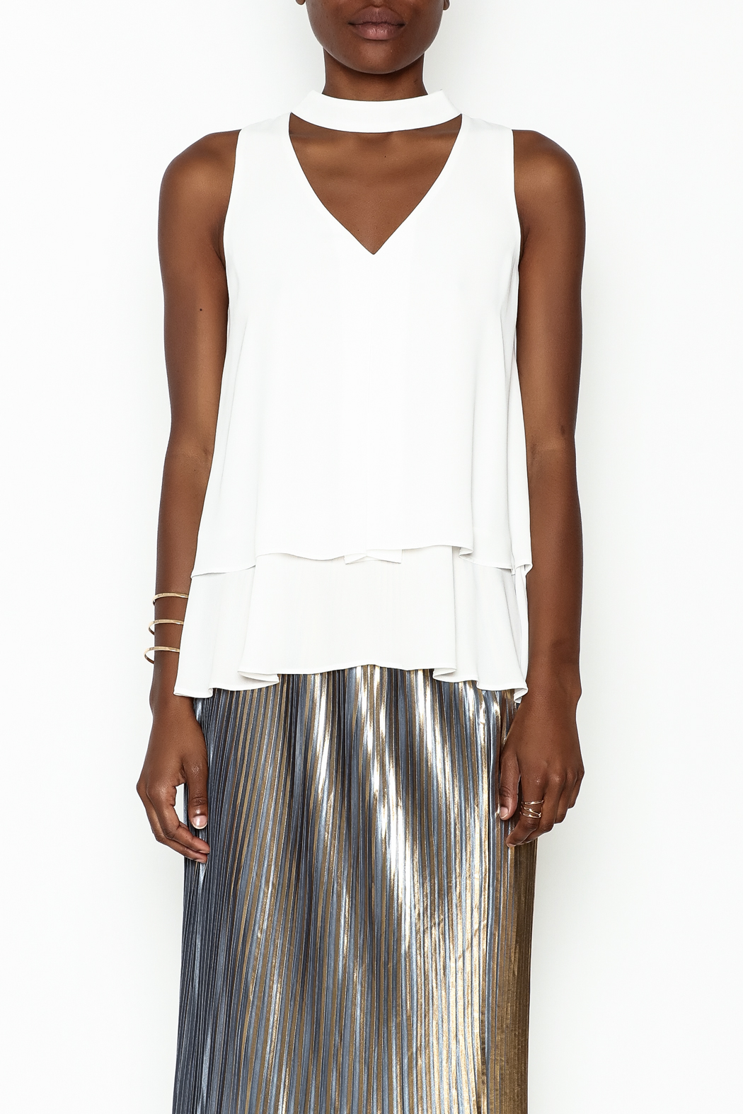 WREN & WILLA Choker V Neck Tank - Front Full Image