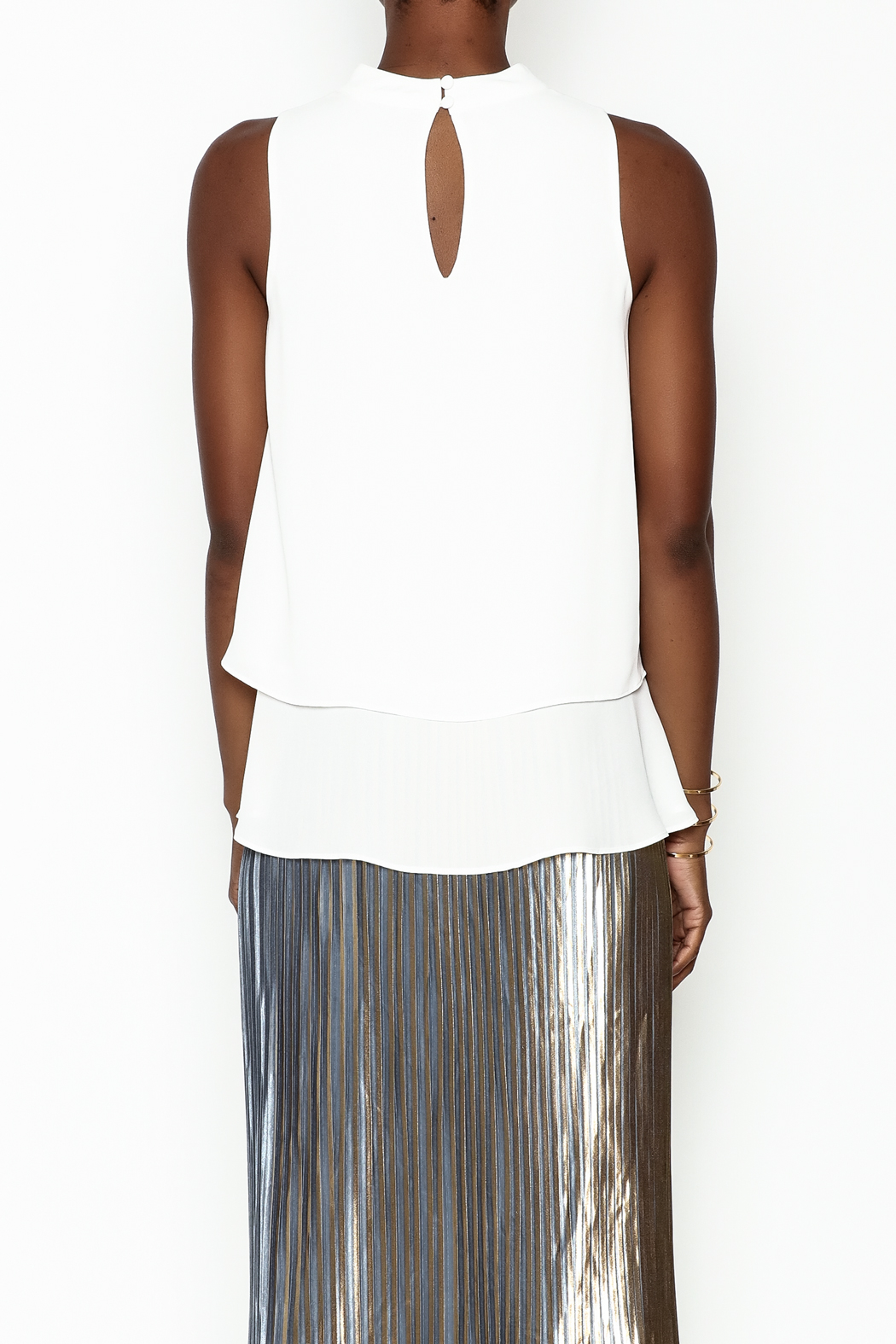 WREN & WILLA Choker V Neck Tank - Back Cropped Image