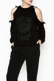 WREN & WILLA Cold Shoulder Embroidered Top - Product Mini Image