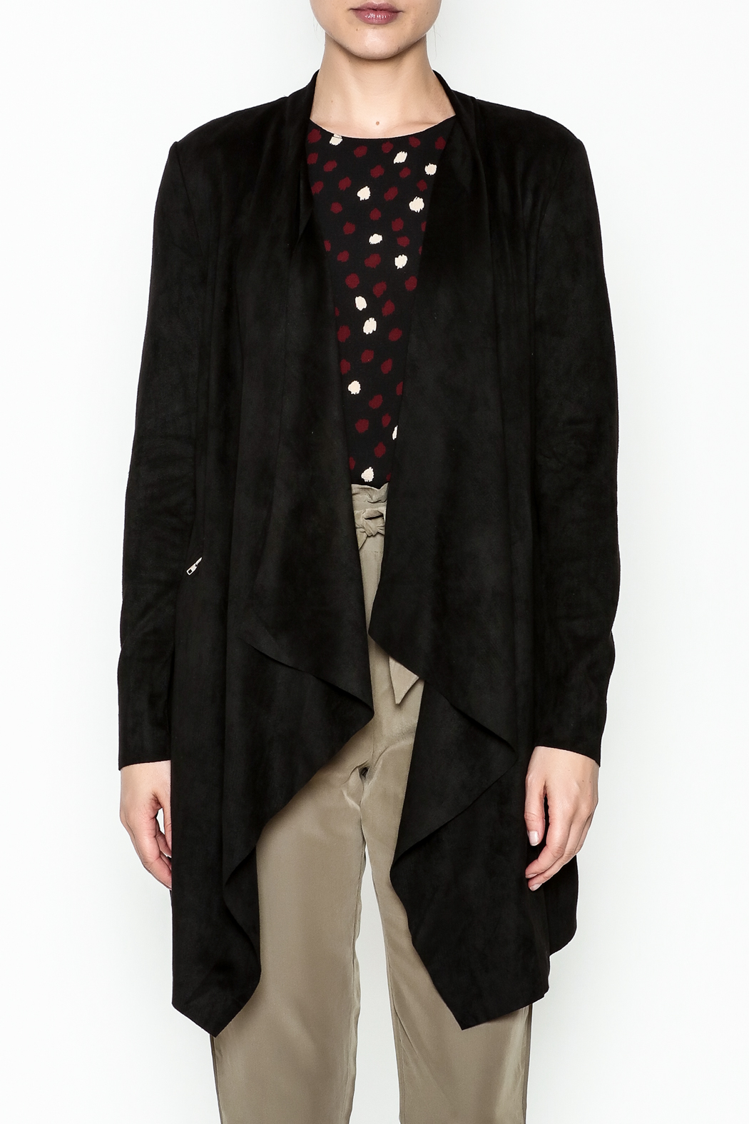 WREN & WILLA Faux Suede Cardigan - Front Full Image