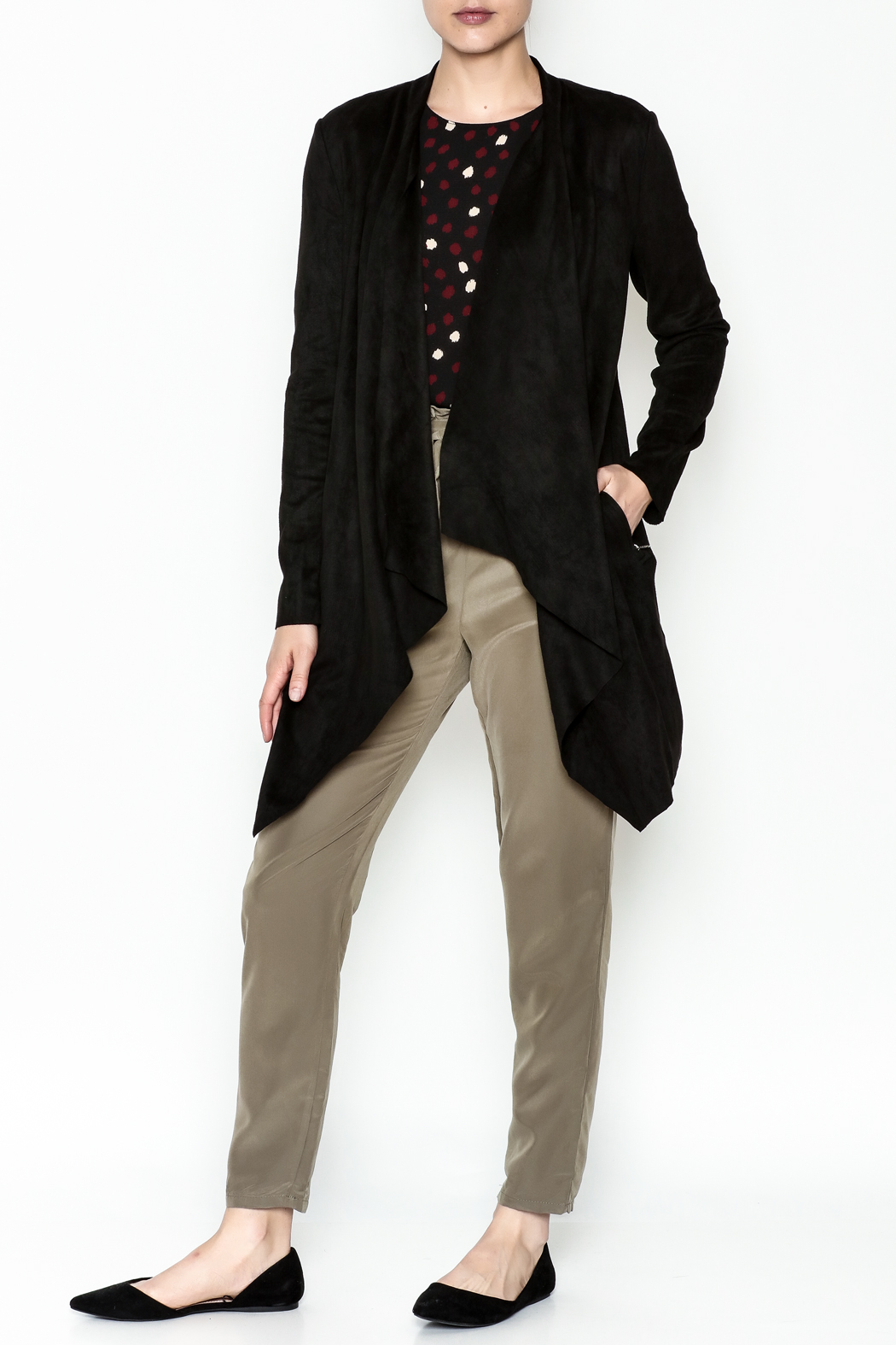 WREN & WILLA Faux Suede Cardigan - Side Cropped Image