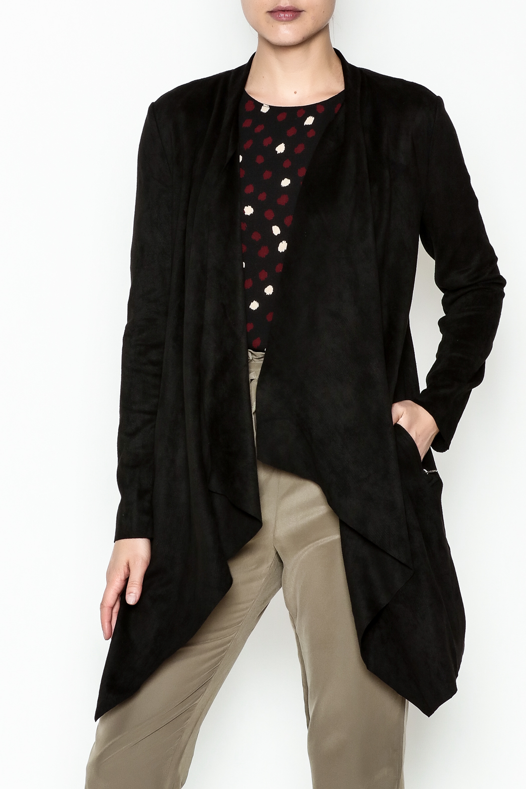 WREN & WILLA Faux Suede Cardigan - Main Image