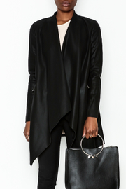 WREN & WILLA Faux Leather Open Cardigan - Front full body