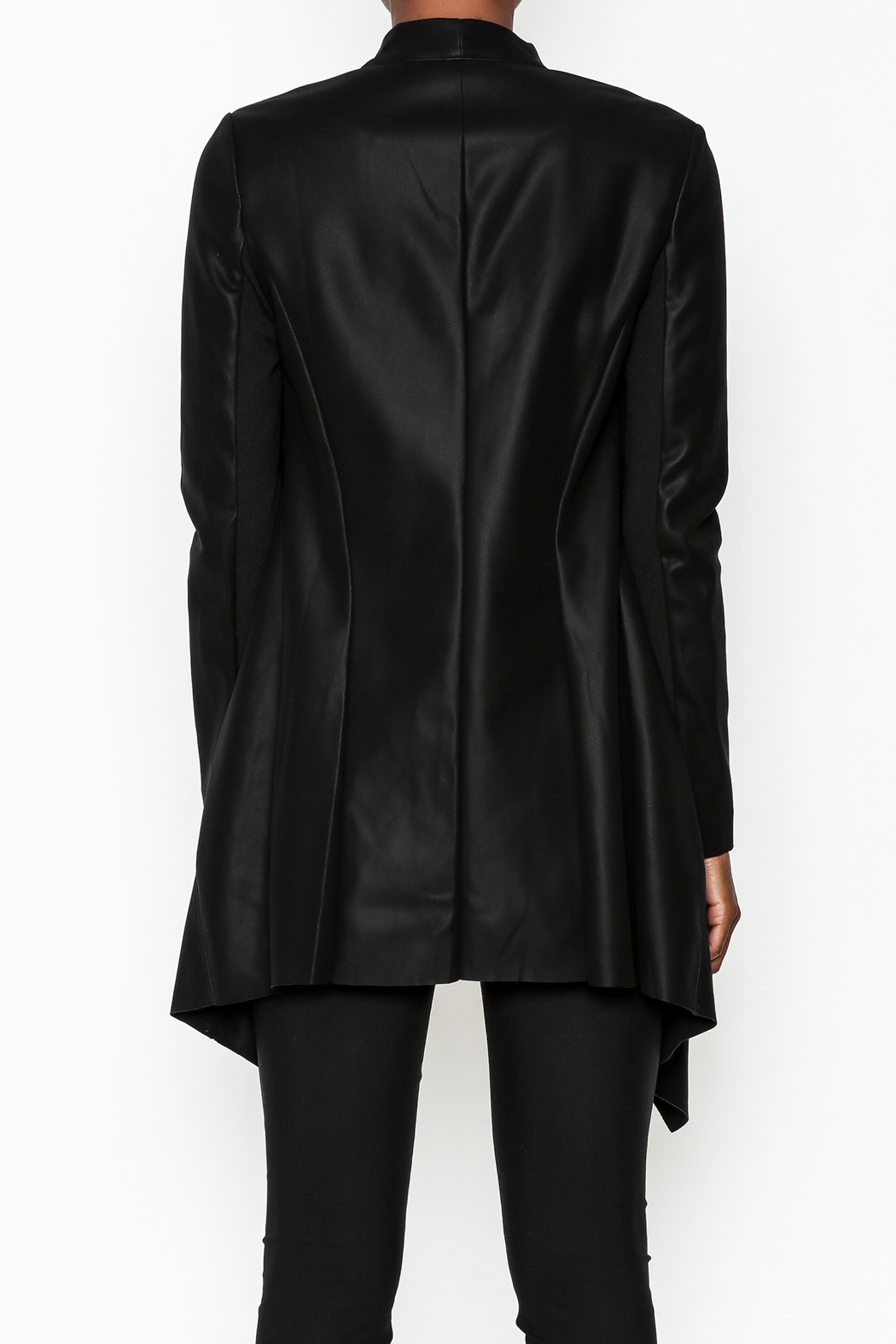 WREN & WILLA Faux Leather Open Cardigan - Back Cropped Image