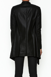 WREN & WILLA Faux Leather Open Cardigan - Back cropped