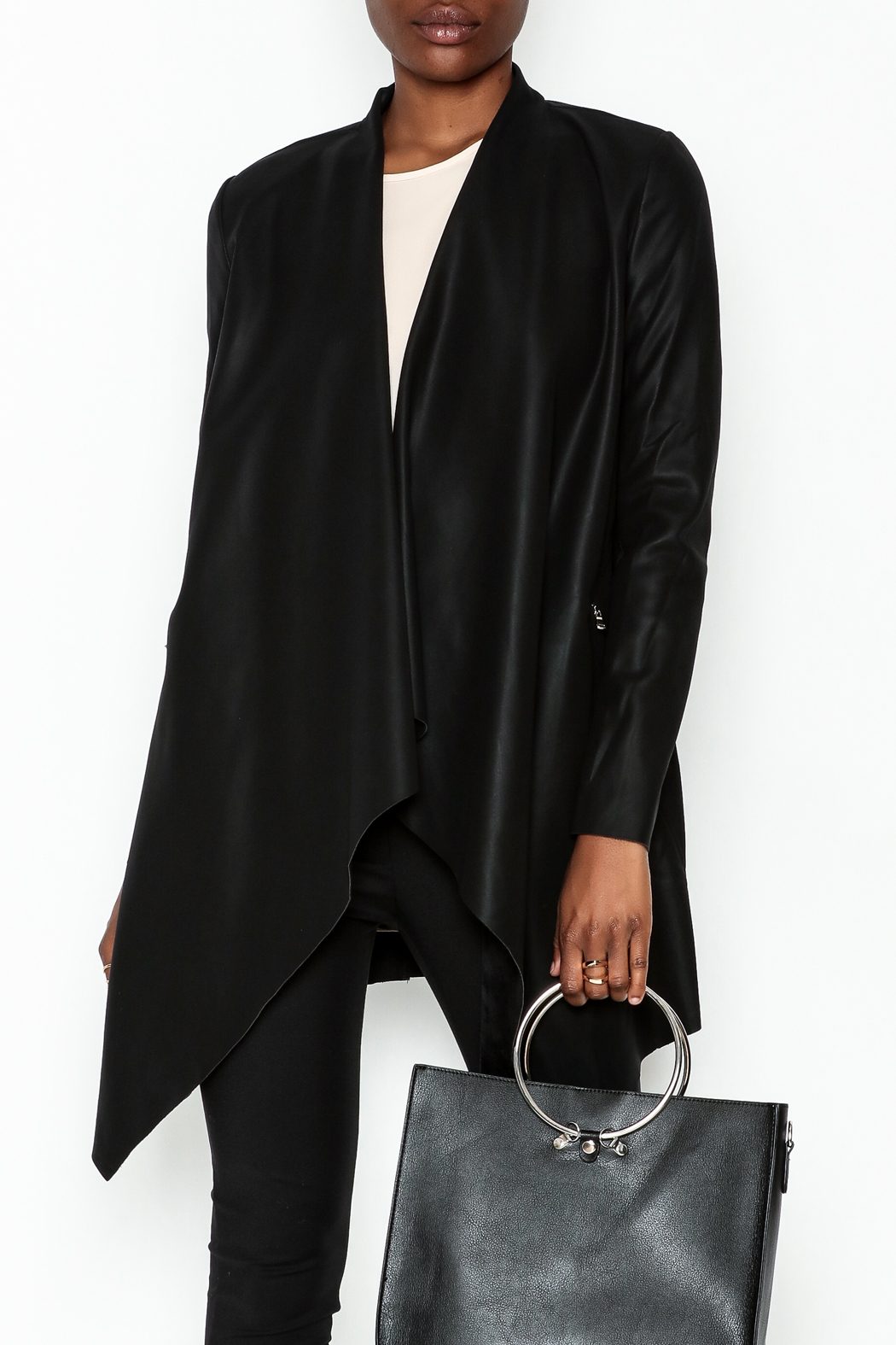 WREN & WILLA Faux Leather Open Cardigan - Main Image