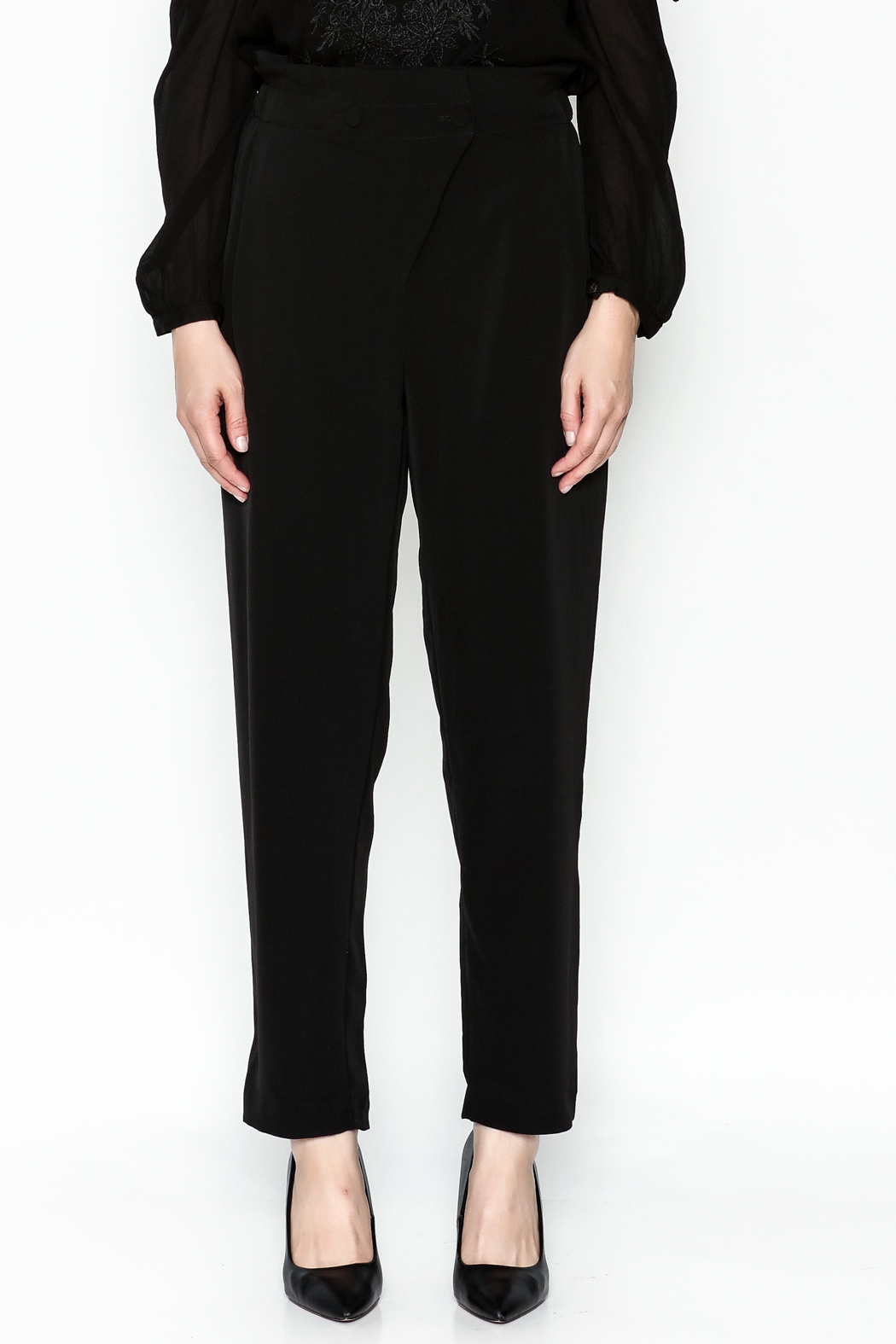 WREN & WILLA Gold Button Pants - Front Full Image