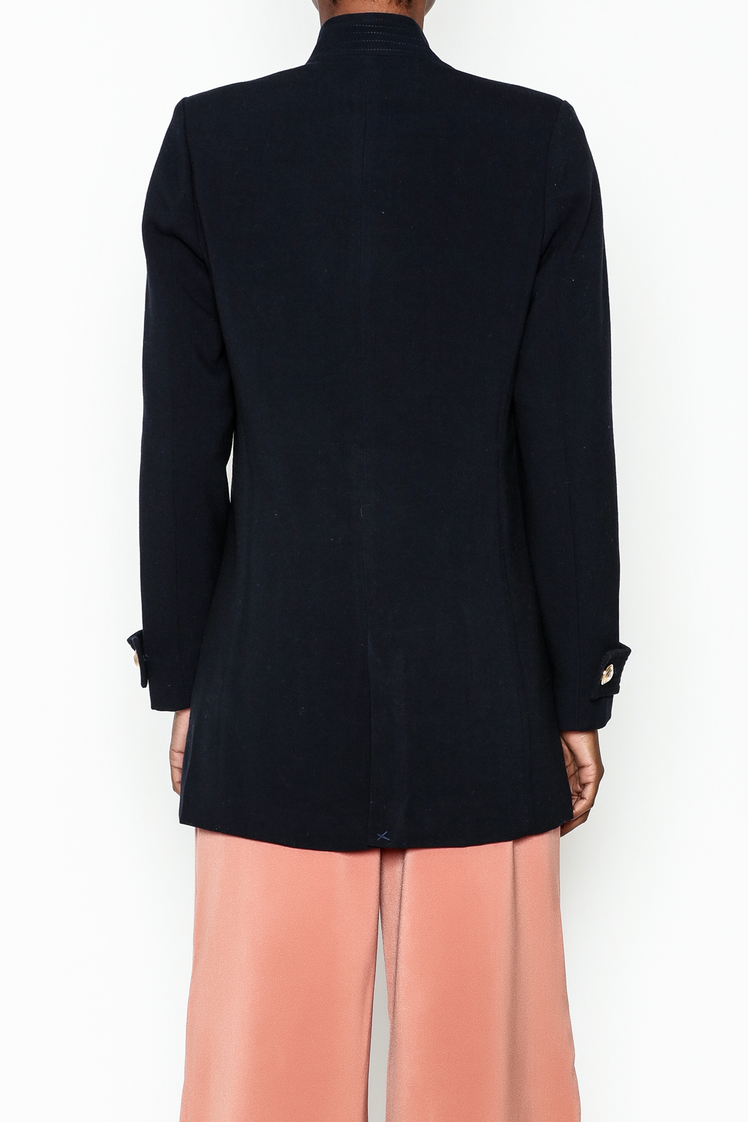 WREN & WILLA Gold Button Peacoat - Back Cropped Image