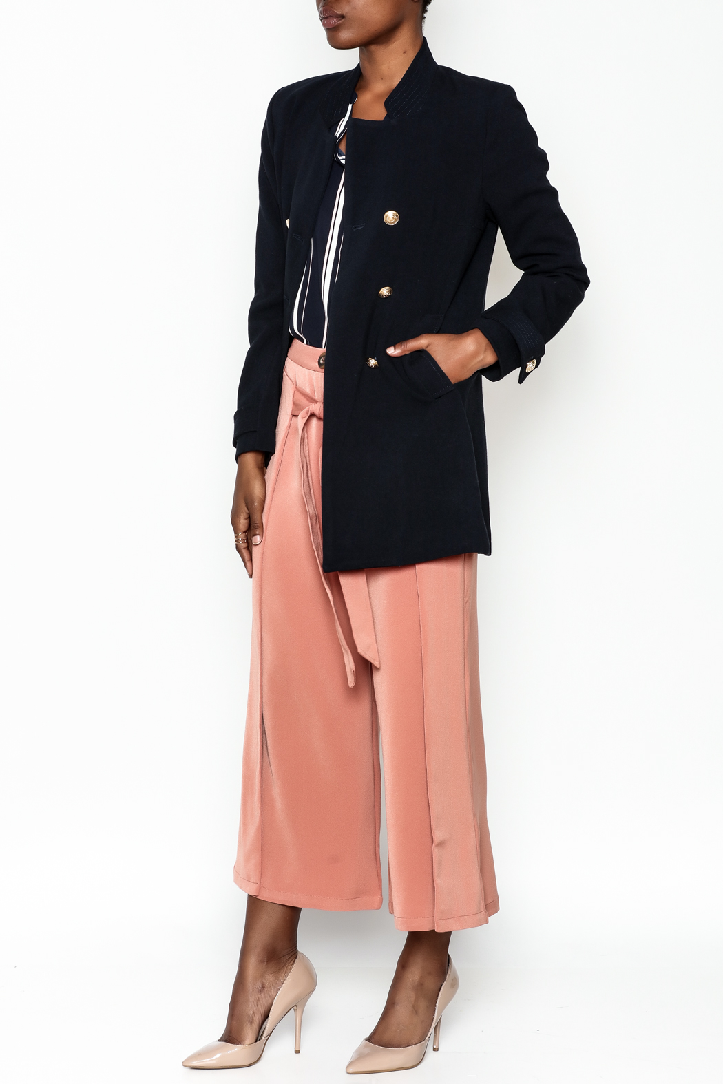 WREN & WILLA Gold Button Peacoat - Side Cropped Image