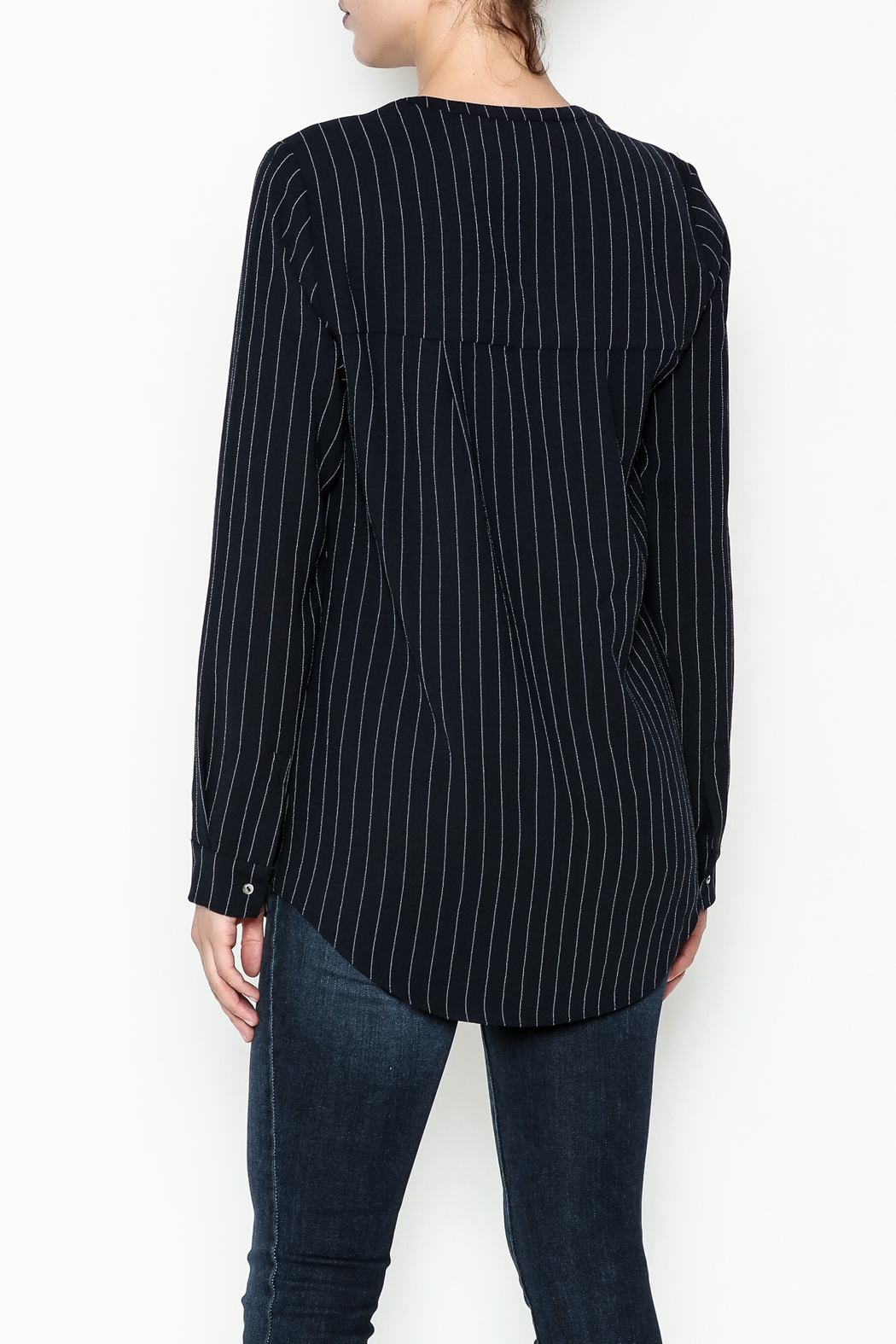WREN & WILLA Pinstripe V Neck Blouse - Back Cropped Image