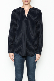 WREN & WILLA Pinstripe V Neck Blouse - Front full body