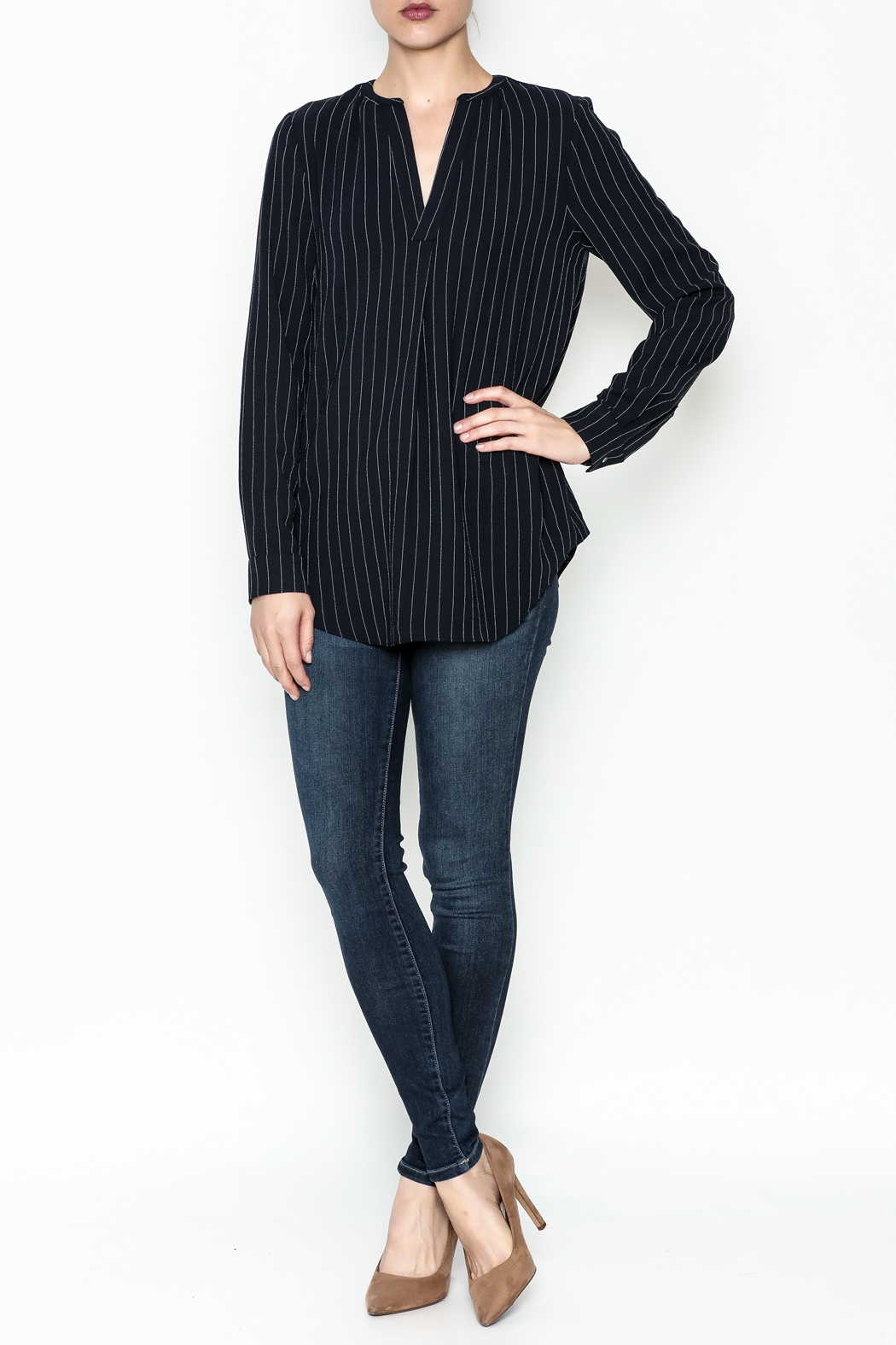 WREN & WILLA Pinstripe V Neck Blouse - Side Cropped Image