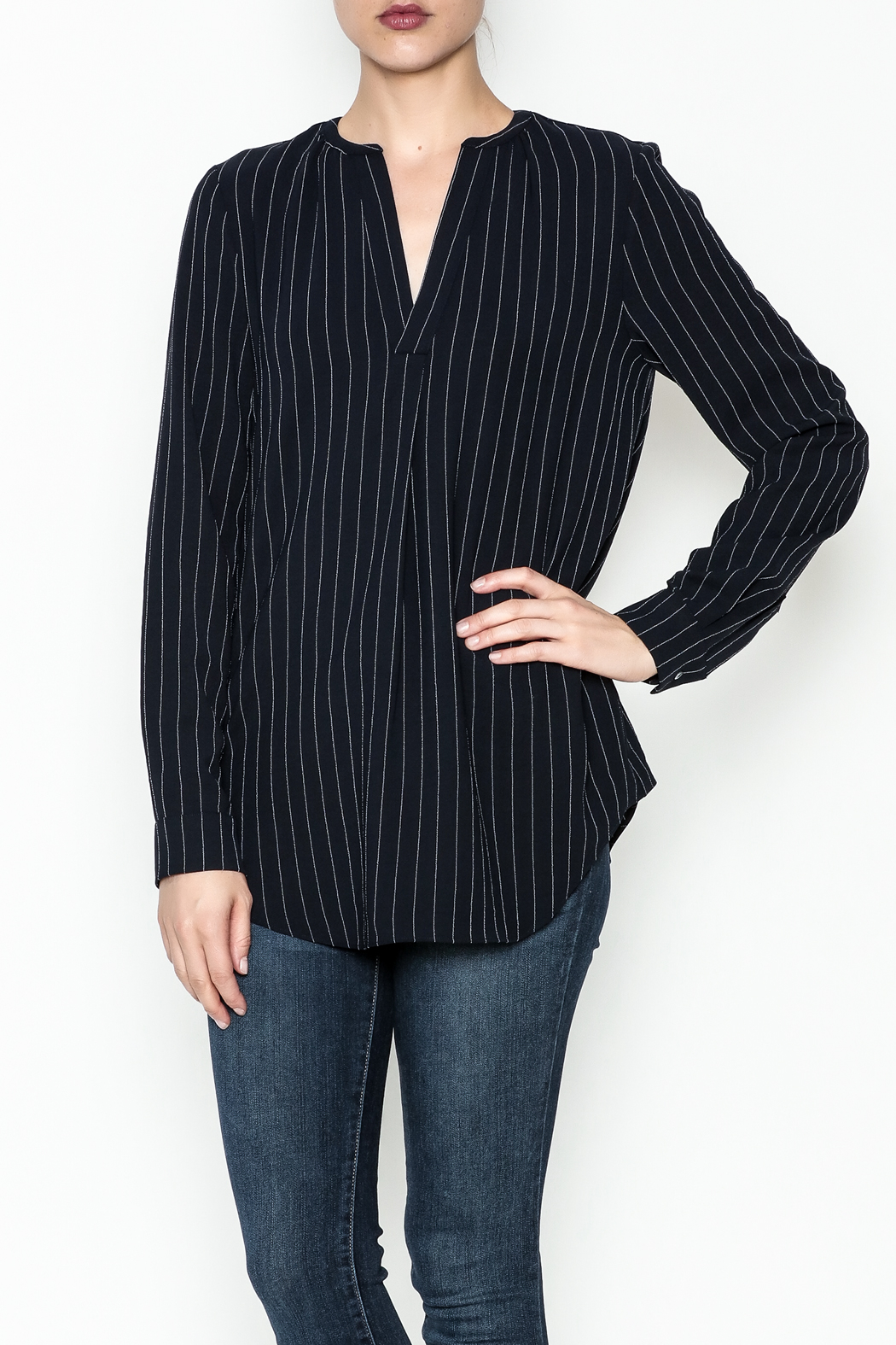 WREN & WILLA Pinstripe V Neck Blouse - Main Image