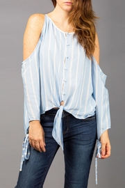 WREN & WILLA Cold-Shoulder Striped Top - Front cropped
