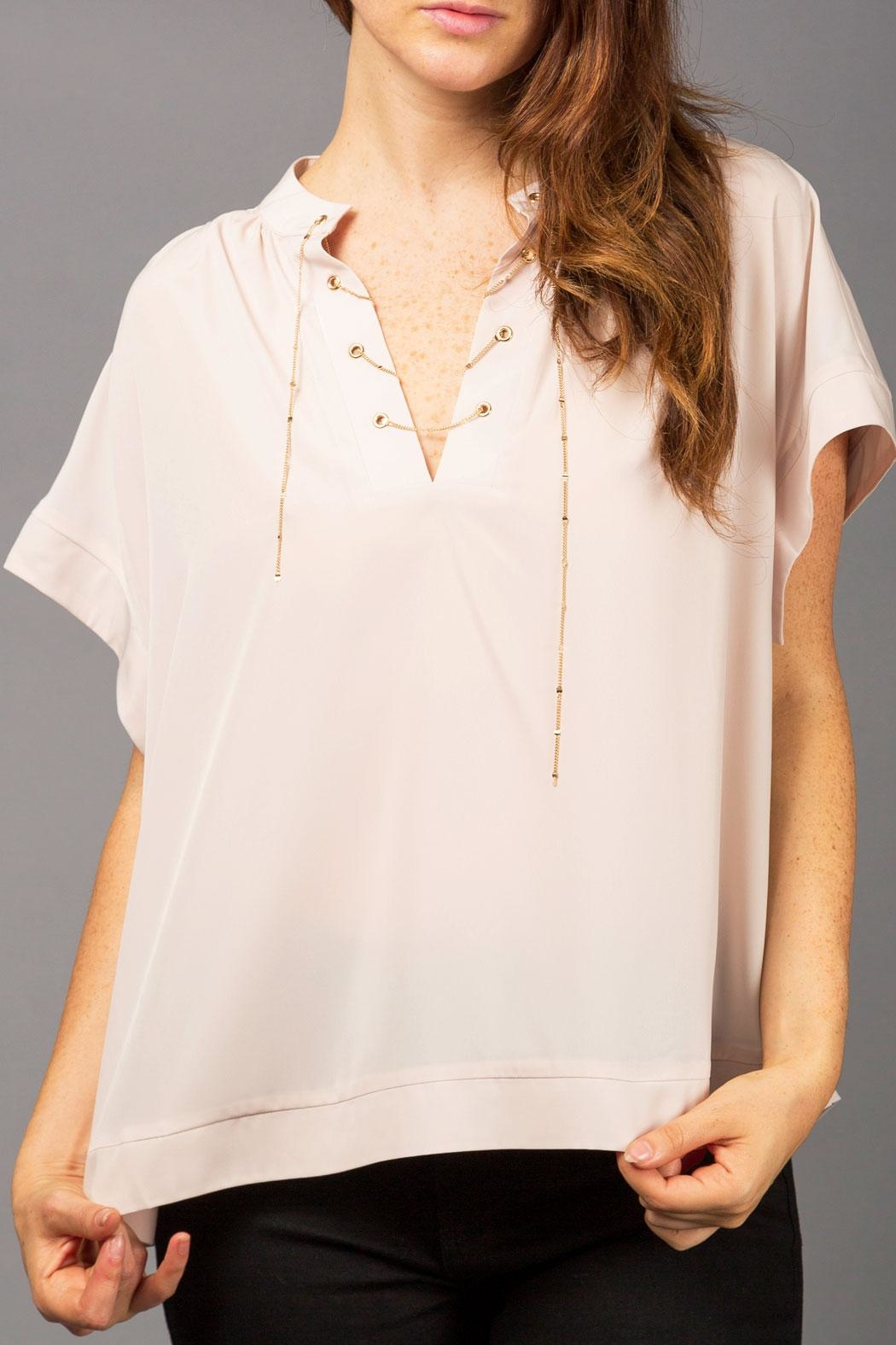 WREN & WILLA Laced-Up Chain Top - Front Cropped Image