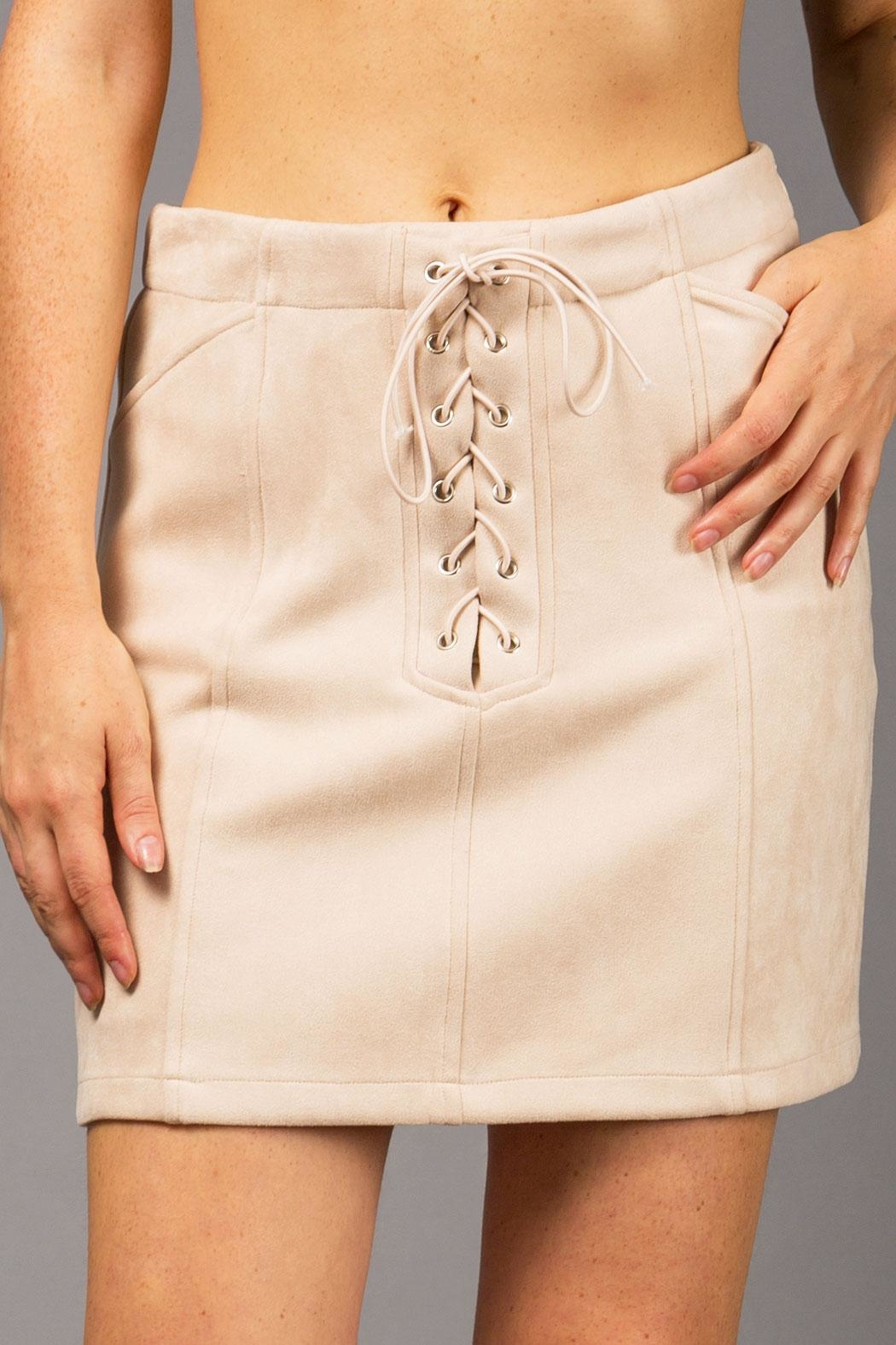 WREN & WILLA Suede Lace-Up Skirt - Main Image