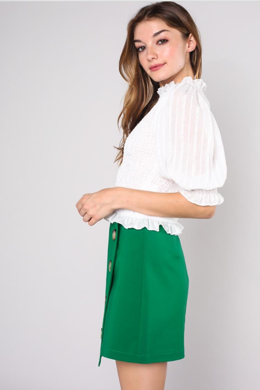 Do & Be Wrinkle Crop Top - Front Full Image