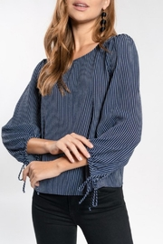 Everly Wrist-Tie Navy Blouse - Product Mini Image