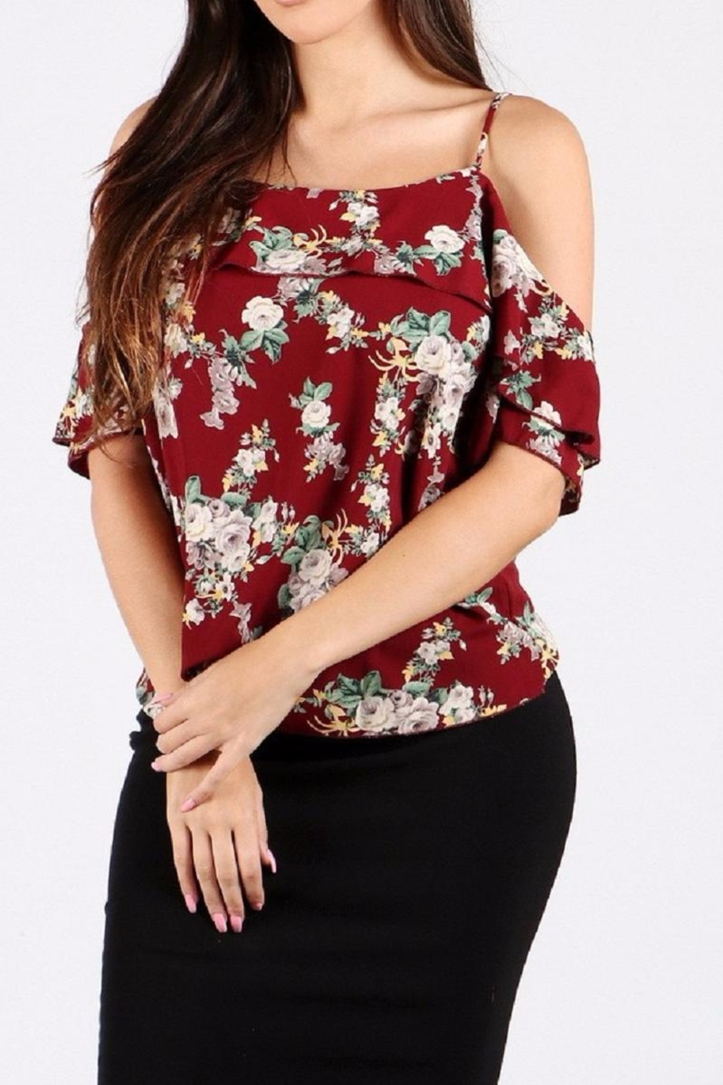 WTD Floral Print Top - Front Cropped Image