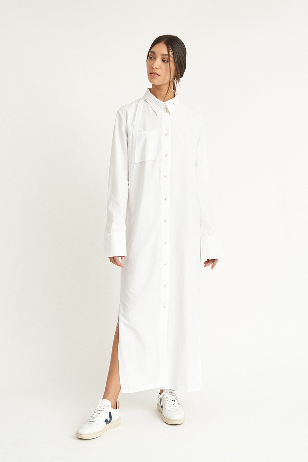 WYLDE Sophie White Shirt Dress - Front Cropped Image