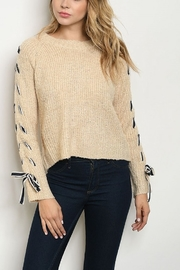 Lyn -Maree's X Sleeve Beige Sweater - Front cropped