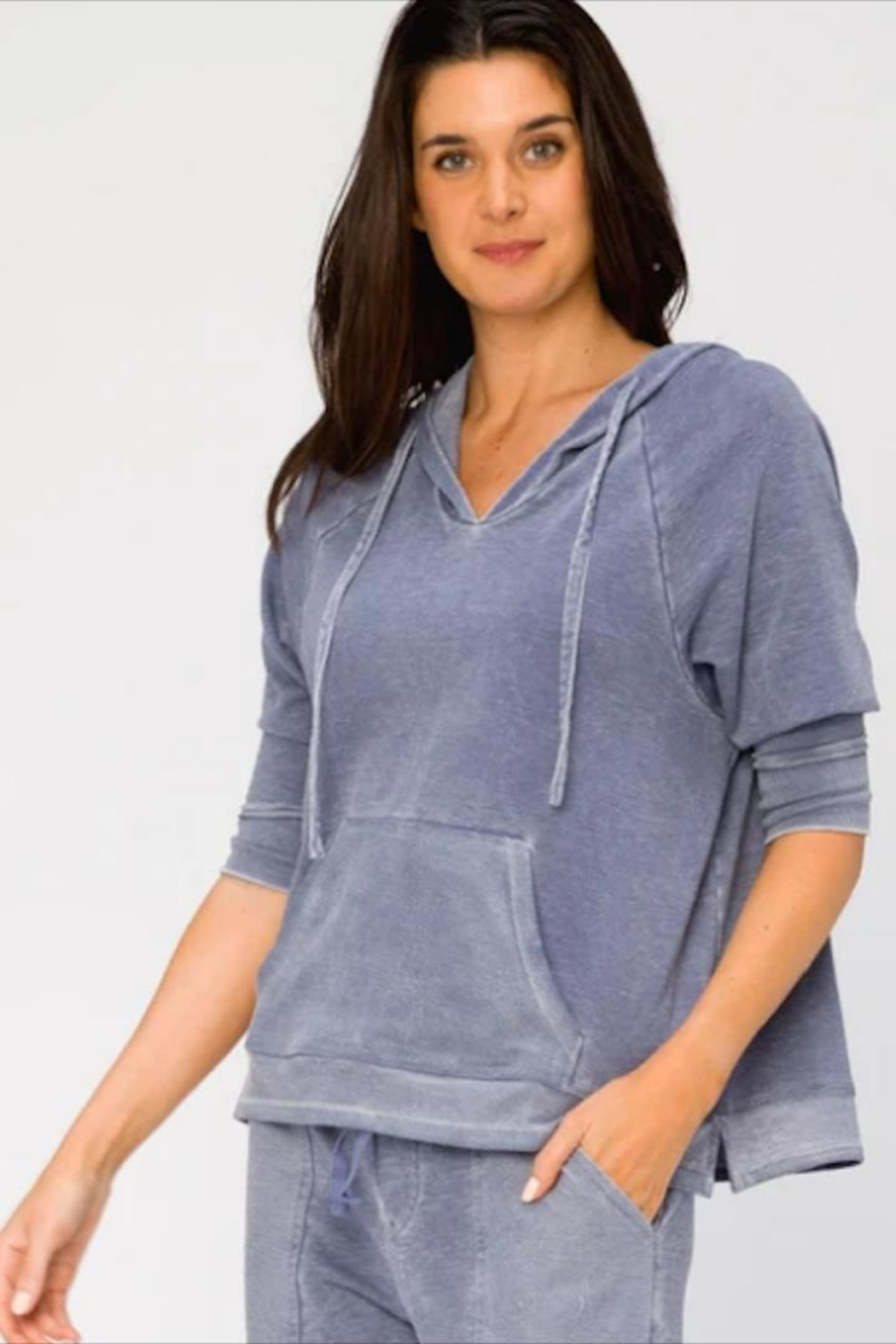 XCVI Wearables 3/4 Sleeve Hoodie - Front Cropped Image