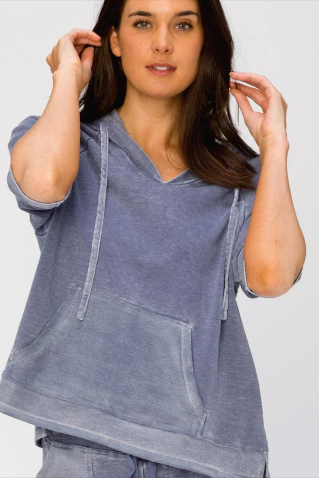 XCVI Wearables 3/4 Sleeve Hoodie - Front Full Image