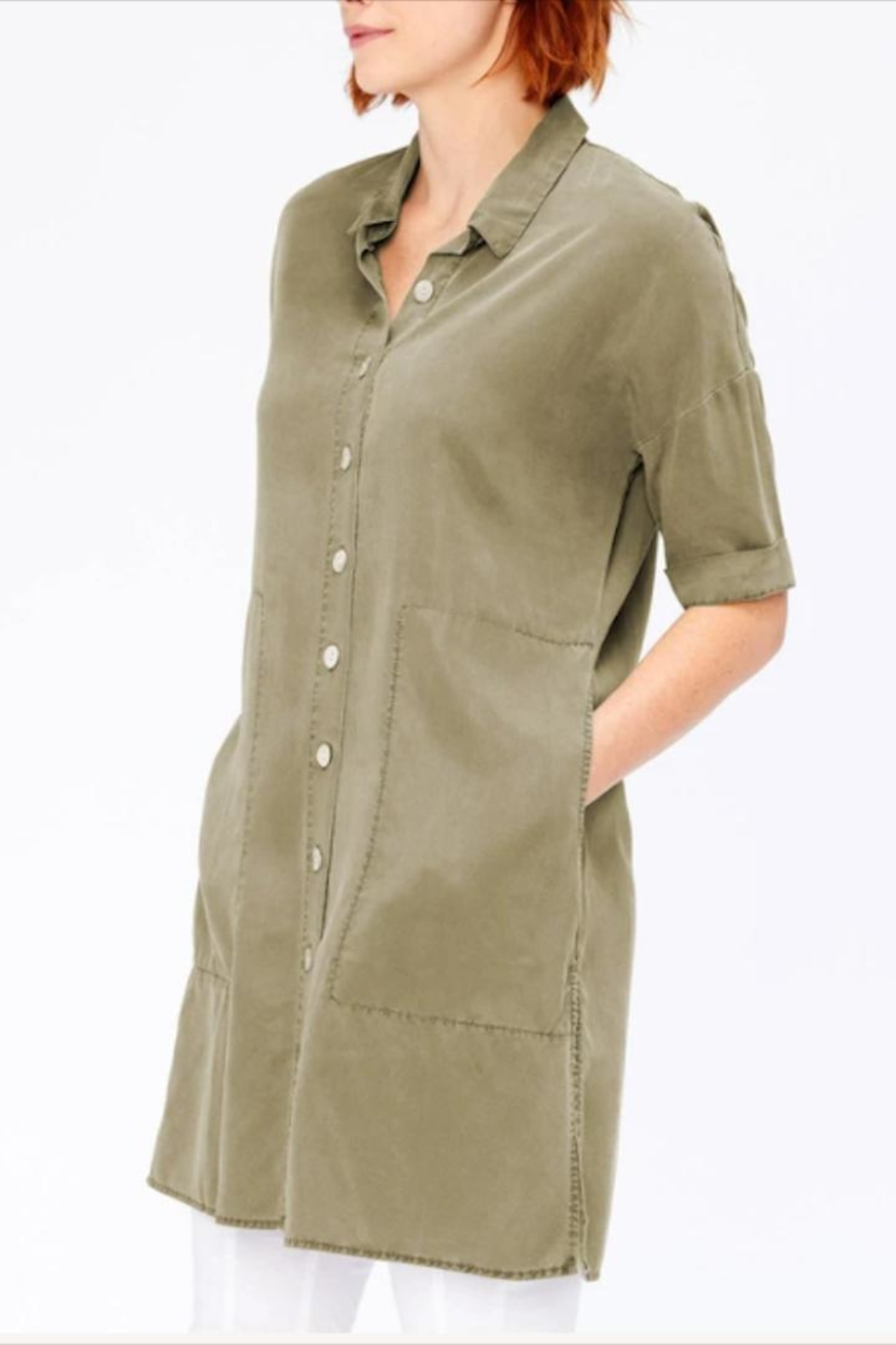 XCVI Button-Down Shirt Dress - Side Cropped Image
