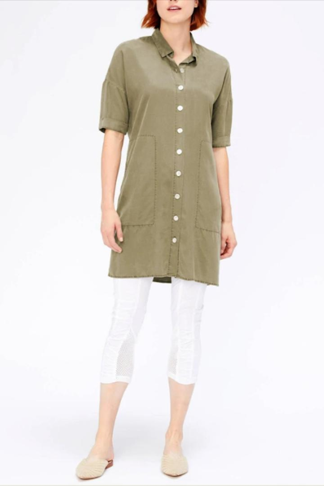 XCVI Button-Down Shirt Dress - Front Full Image