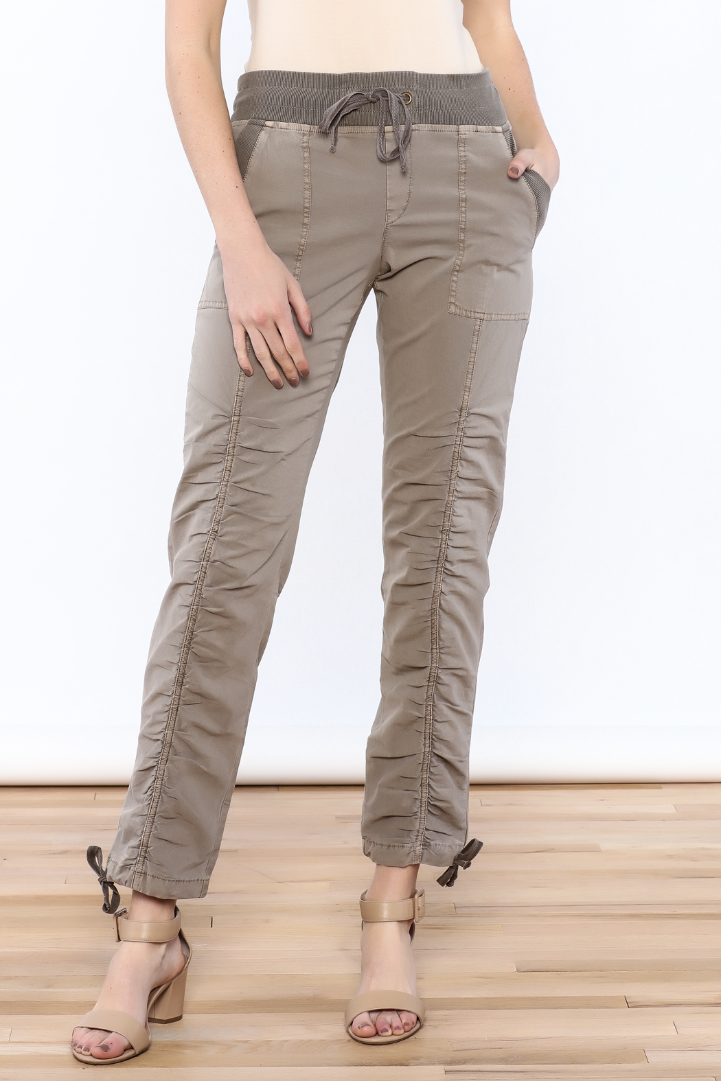 XCVI Beige Ruche Pants - Front Cropped Image
