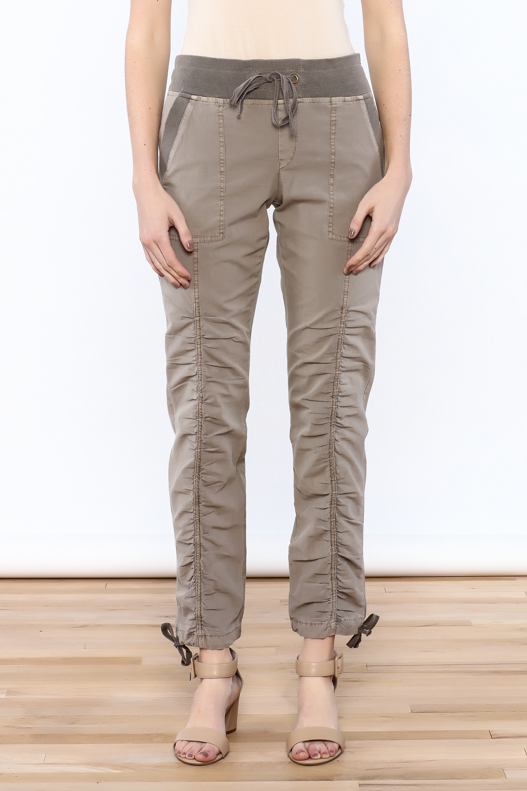XCVI Beige Ruche Pants - Side Cropped Image
