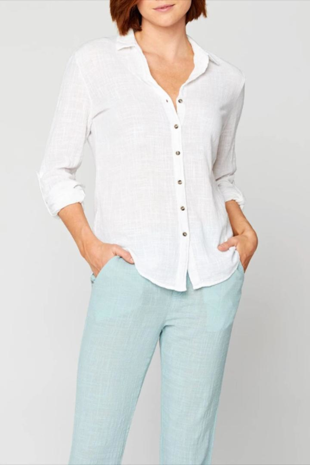 XCVI Wearables Button-Up Cotton Blouse - Front Cropped Image