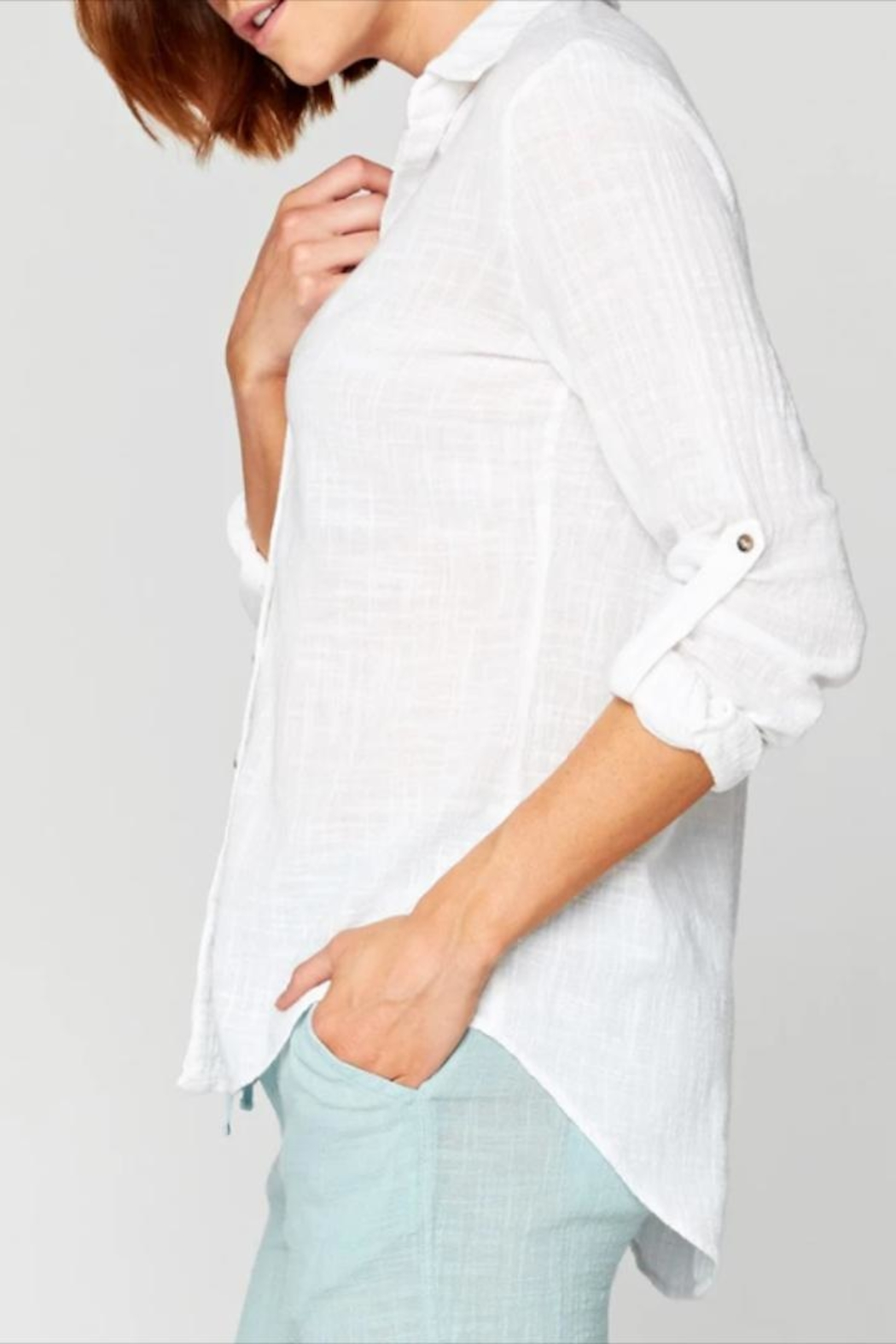XCVI Wearables Button-Up Cotton Blouse - Front Full Image