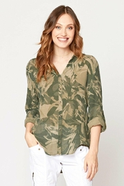 XCVI Wearables Camo Button Up Blouse - Front cropped