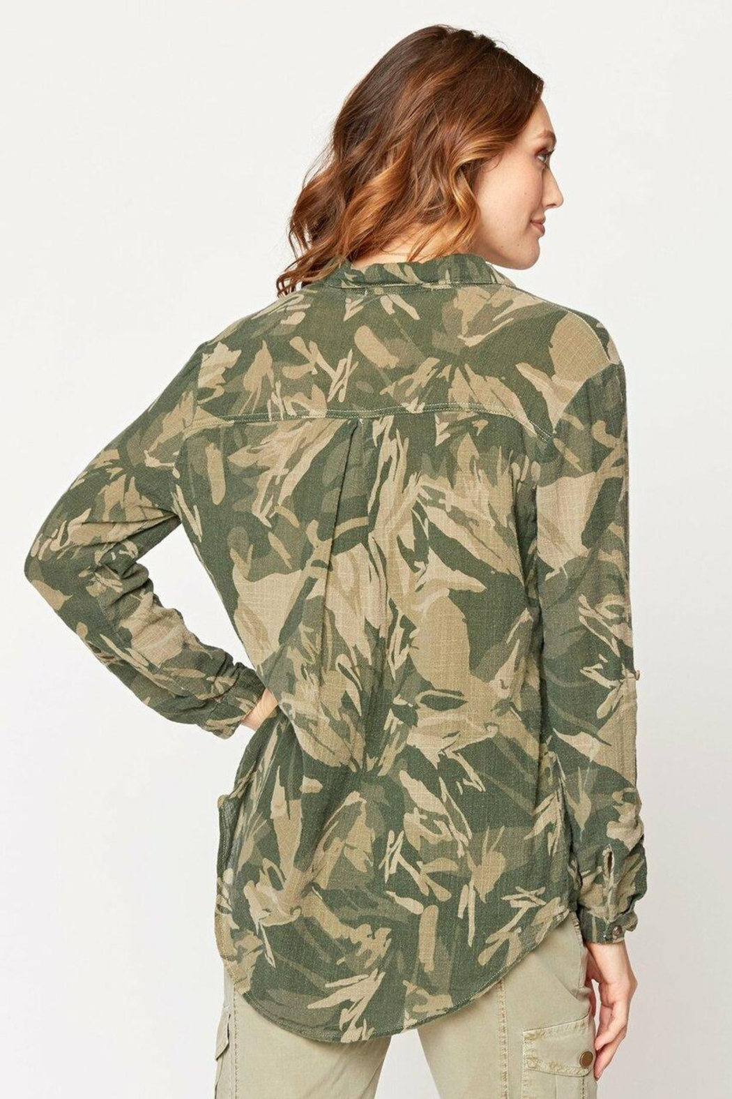 XCVI Wearables Camo Button Up Blouse - Front Full Image