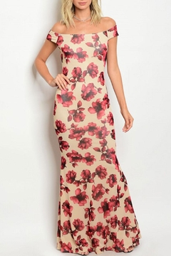 Xtaren Beige/wine Floral Gown - Product List Image