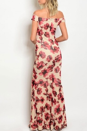 Xtaren Beige/wine Floral Gown - Front full body