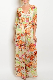 Xtaren Cream Floral Jumpsuit - Product Mini Image